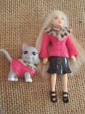 Polly Pocket Doll Girl and Pet Cat Matching Outfits Dresses M51