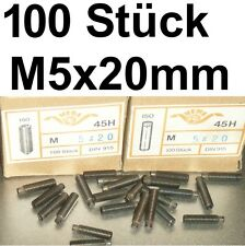 100 Madenschrauben Schraube M5x20 Schrauben Gewindestifte Zapfen Madenschraube