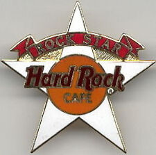 """Hard Rock Cafe 1990s Red Banner on WHITE """"ROCK STAR"""" STAFF PIN HRC Catalog #3386"""