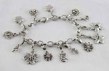 Tibetan silver flower charm bracelet E20016