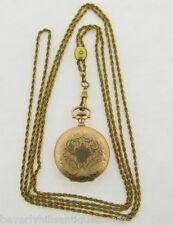 Antique Art Nouveau Hampden Lady's GF Hunting Case Pendant  Watch & Slide Chain