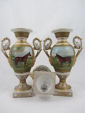 "Royal Piedra De Porcelana China Floreros de 9 ""par caballo de carreras en Escenas Campestres"
