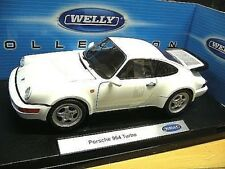 PORSCHE 911 964 Turbo weiss white 1989 Welly NEU 1:18
