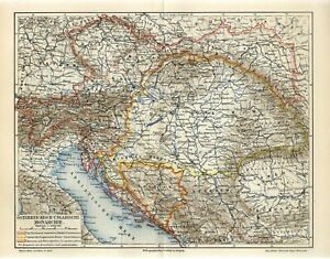 1905 AUSTRO-HUNGARIAN EMPIRE MONARCHY CZECH GALICIA UKRAINE SLOVENIA Map dated