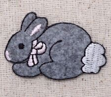 Gray Bunny/Rabbit Pink Bow/Animals/Cottontail Iron on Applique/embroidered Patch