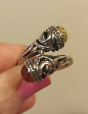 Sterling Silver HONEY AND GREEN AMBER Bypass Ring, Sizeable 7