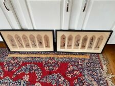 Signed ISA Dutch illustrated Handpainted leather bookmarks Arts & Crafts framed