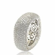 Suzy Levian Sterling Silver Cubic Zirconia Square Pave WIDE Eternity Ring