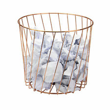 Rose Gold Wire Bin Home Storage Basket Office & Bedroom Paper Basket M&W