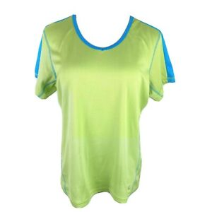 Xersion Women's Large Lime Green V-Neck Short Sleeve Athletic Performance Tee