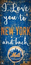 """New York Mets I love you to NY and Back Wood Sign - NEW 6"""" x 12"""" Wall Decor"""