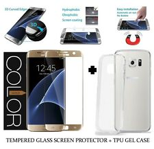 GOLD Curved 3D Tempered Glass Screen Protector + TPU For Samsung Galaxy S6 EDGE