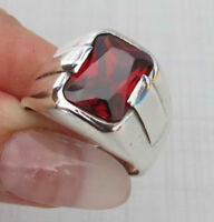 AAA QUALITY STERLING 925 SILVER  HANDMADE JEWELRY  RUBY MEN'S RING