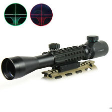 3-9x40 Tactical Rifle Scope Red & Green illuminated Optical Gun Scope with Rails