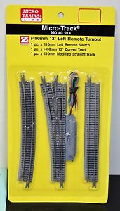 Z Scale - MICRO-TRAINS MTL 990 40 914 Left Hand 13 Deg Remote Turnout Track Set