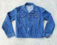 Vtg 70s 80s Wrangler No Fault Denim Trucker Blue Jean Jacket Med-Large USA EUC