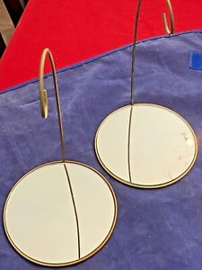 Vintage Pair Tripar Mirror Bottom Christmas Ornament Display Stands