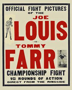 Joe Louis vs Tommy Far - Fight Film Poster (1937), 8x10 Color Photo