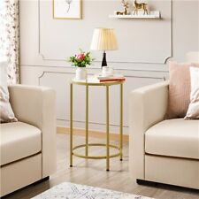 Round Accent Tables w/ Glass Top & Metal Frame for Living Room Bedroom,Office