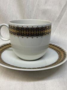 HERITAGE BAVARIA GERMANY ARABESQUE CUP & SAUCER 10 OZ GOLD & COBALT BAND