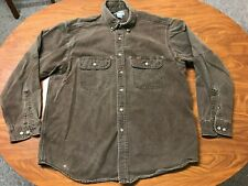 MENS USED CARHARTT DARK BROWN LONG SLEEVE BUTTON UP WORK SHIRT SIZE LARGE