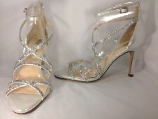 INC Gemm2 Women Shoes Silver Rhinestone Strappy Heels Sz 7 M