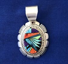 NATIVE AMERICAN ZUNI SILVER PENDANT, TURQUOISE CORAL MAN-MADE OPAL INLAY, SIGNED