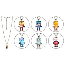 Funky Vintage Style Tin Alloy Retro Robot Necklace Pendant - Gold Tone Cute