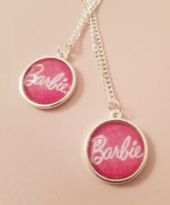 Barbie Text Logo Pink Girlie Princess Pendant Silver Plated Necklace Gift