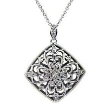BEAUTIFUL NEW 0.15 ct. t.w. Diamond Accent Medallion Pendant  in Sterling Silver