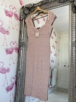NEW River Island Blush Pink Ruched Bodycon Midi Dress 16 Wedding