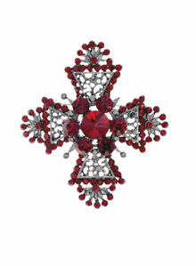 "2.3/8"" Long Red Rhinestones Chic Maltese Cross Brooch Pin Gunmetal Finishing"