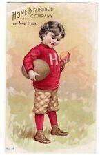 VTC Boy FOOTBALL PLAYER Home Insurance NY 1899 VICTORIAN ADVERTISING TRADE CARD