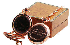 Engraved Pocket Watch Luxury Personalised Rose Gold Luxury Wooden Case Message