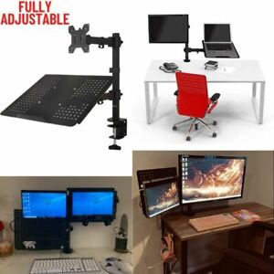 Laptop Desk Mount Arm Single Monitor and Tray Riser Adjustable Heavy Duty Stand