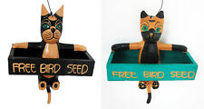 "Novelty Bird Feeder in shape of a hanging cat holding as sign "" Free Birdseed"""