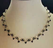 "Crystal glass Bead NECKLACE VINTAGE style SILVER BLACK  glass 16"" womens"