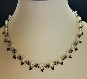 """Crystal glass Bead NECKLACE VINTAGE style SILVER BLACK  glass 16"""" womens"""