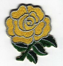 Iron On/ Sew On Embroidered Patch Badge Rose Flower Yellow Roses Bud Yellow