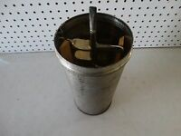 Vintage Ice Cream Churn Canister Mixer Metal Wood Paddles Holds 16 Cups K4E57