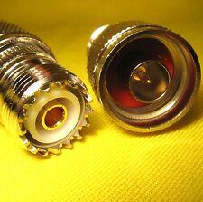 Adapter x2 N type male plug UHF SO239 female jack RF Connector HAM Radio Antenna