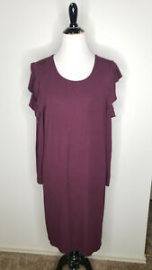 WHBM Dress Womens XL Purple Ruffle Cold Shoulder Long Sleeve Knee Length Sheath
