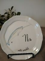 """SOLD OUT~LINEA CARTA ANTHROPOLOGIE ABC PLATE~""""N"""" noble narwhal ~NWT~D. Pyari"""