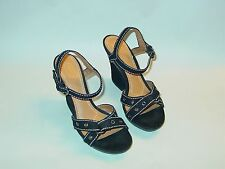 Womens Antonio Melani Canvas Strappy Ankle Heel Buckle Sandals Shoes Heels 6 M