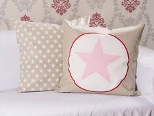 Krasilnikoff Kissen 50x50 Stern taupe Kissenhülle rosa Sterne weiß Kissenbezug