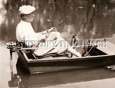 ANTIQUE REPRO 8X10 PHOTOGRAPH FISHING CLYDE BOAT MICHIGAN PEDDLE OUTBOARD MOTOR