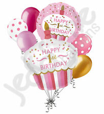 7 pc 1st Cupcake Happy Birthday Balloon Bouquet Party Decoration Baby One Girl