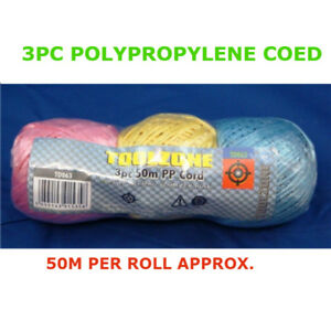 3Pc Assorted 50m Colour Cord POLYPROPYLENE Strong Decorative Thread/String/Roll