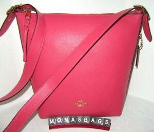 Coach C2818 Fuchsia Pink Leather Val Duffle Shoulder Crossbody Handbag NWT $398