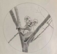 B B LA FEMME - Los Angeles Artist- Kuala Bear Graphite Concept  Drawing - Signed